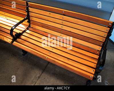 bench, park bench, slats, wooden, wood, seating, seat, - Stock Image