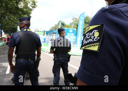 Macon to Saint-Etienne, France. 13th July 2019. 13th July 2019, Macon to Saint-Etienne, France; Tour de France cycling tour, stage 8; Armed Police patrol at Tour de France Credit: Action Plus Sports Images/Alamy Live News - Stock Image