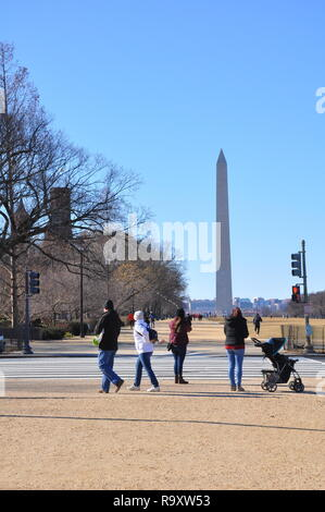 Tourist on the National Mall on a Cold Winter Day in Washington DC - Stock Image