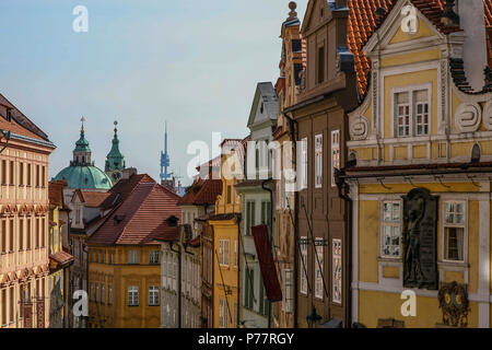 A glimpse of Prague's Old Town architectural houses including Gothic and Baroque styles, Czech Republic, Europe. - Stock Image