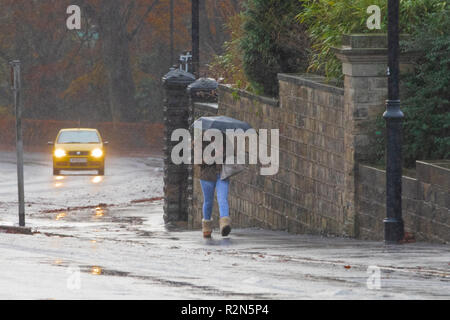 Leeds, UK. 20th Nov, 2018. A cold and grey morning across north Leeds with freezing rain and some beautiful rainbows. Credit: James Copeland/Alamy Live News - Stock Image
