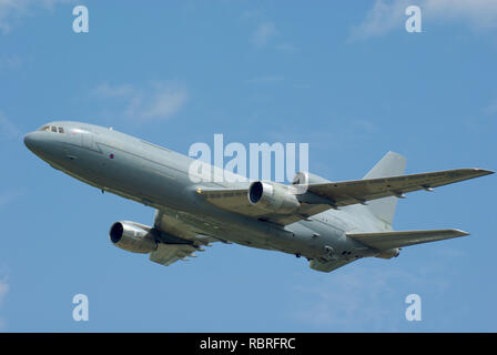 RAF Royal Air Force Lockheed Tristar tanker transport plane. Converted civilian Lockheed L-1011-500 TriStar airliners—previously operated by BA - Stock Image