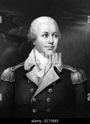 Nathanael Greene (1742-1786) on engraving from 1834.  Major general of the Continental Army in the American Revolutionary - Stock Image