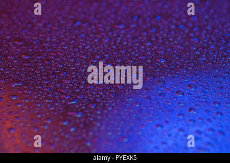beautiful water drops on glass background - Stock Image