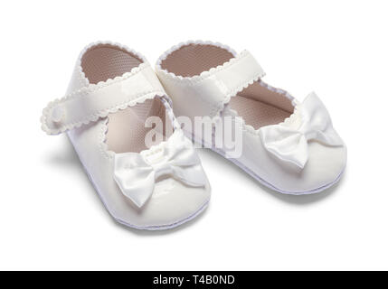 Two Girls Baby Shoes Isolated on White Background. - Stock Image