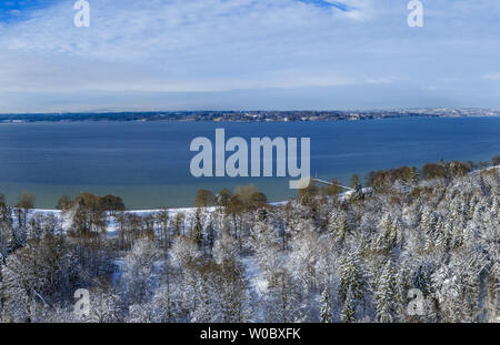Winter landscape near Ambach, Bavaria, Germany - Stock Image