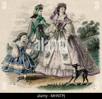 Women's and girl's fashionable clothing.     Date: 1862 - Stock Image