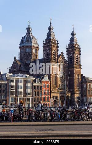 Basilica of Saint Nicholas in Amsterdam, Netherlands - Stock Image