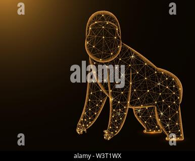 Gorilla low poly model, African animal abstract graphics, primate polygonal wireframe vector illustration on dark yellow background - Stock Image