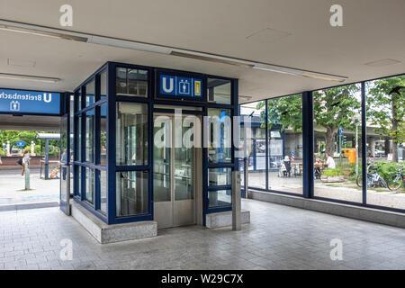 Berlin Dahlem District,Breitenbachplatz U-Bahn underground railway station. Modern entrance housing lift & stairs to platform. - Stock Image
