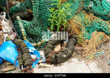 Old fishing nets at Kinsale, Ireland. - Stock Image