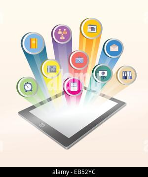 Application icons projected from tablet screen - Stock Image