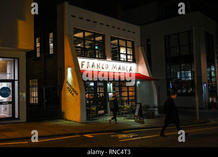 Brighton Views at night - Franco Manca restaurant in North Laine district  Photograph taken by Simon Dack - Stock Image