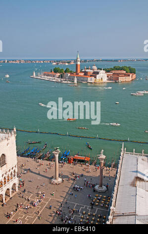 View south from St Marks Bell Tower Venice Italy showing Piazzetta and Island of San Giorgio Maggiore with Lido - Stock Image