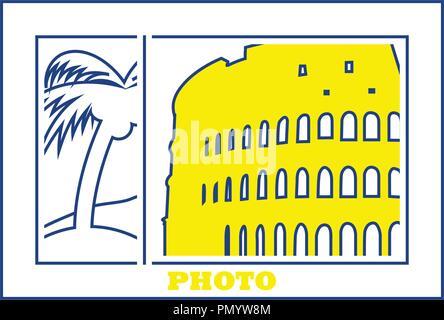 Digital photo frame icon. Thin line design. Vector illustration. - Stock Image