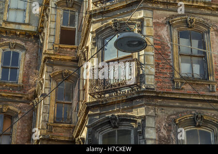 Detail of the facade of an old building in the Beyoglu district of central Istanbul.  Many beautiful late 19th and - Stock Image