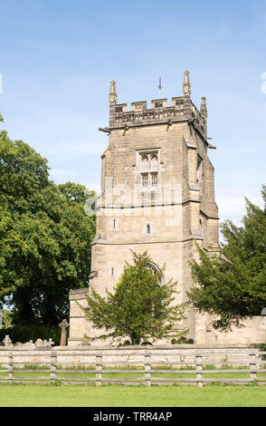 The tower of All Saints Church, in Slingsby, North Yorkshire, England, UK - Stock Image