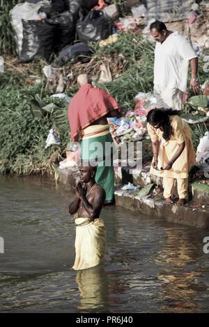 Hindu devotees worship in river at Thaipusam festival at Batu Caves in Selangor, Malaysia - Stock Image