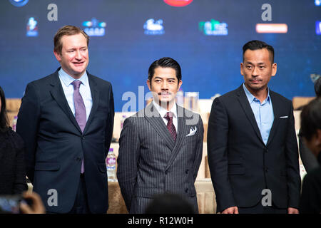 Macao, Macao SAR, China. 8th Nov, 2018. November 8th, 2018.Talent Ambassador, Aaron Kwok (front middle) joins producer Alvin Chau (front right) and Festival Artistic director, Mike Goodridge Front left) to launch the program for the 3rd International Film festival and awards Macao. This years oversea talent ambassador will be Nicholas Cage. Credit: Jayne Russell/ZUMA Wire/Alamy Live News - Stock Image