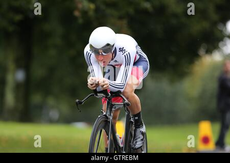 Bristol, UK.  10th September 2016. Tour of Britain stage 7a, time trial.  Oliver Wood of Team Great Britain Credit: - Stock Image
