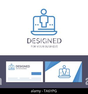 Creative Business Card and Logo template Computer, Digital, Laptop, Technology, Marketing Vector Illustration - Stock Image