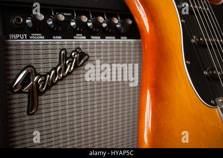 Fender amp and guitar - Stock Image