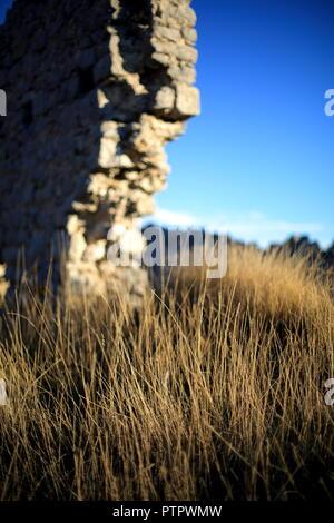Ruins of the Castellaras castel, Prealpes d'Azur, Alpes Maritimes, 06, PACA, France - Stock Image