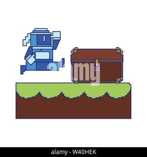 Videogame pixelated character in scenery blue lines - Stock Image
