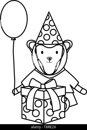 cute monkey with balloon helium and gift in birthday party vector illustration design - Stock Image