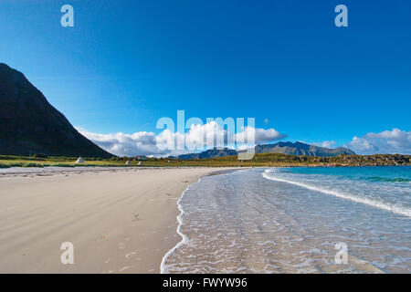 Sandy beach and camping site near Hov on island Gimsøy on Lofoten in northern Norway. - Stock Image