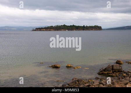 Satellite Island in the D'Entrecasteaux Channel, off Bruny Island, is the location of an upscale private retreat, Tasmania, Australia - Stock Image