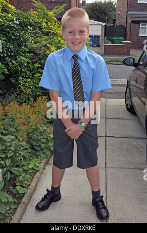 Schoolchild on first day of term in neat new school uniform, Cheshire,England,UK - Stock Image