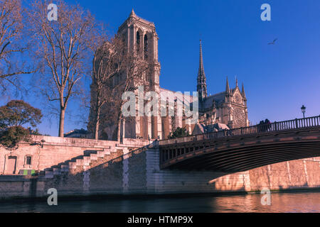 Picturesque view of Ile de la Cite, Seine River and Cathedral of Notre Dame de Paris in the winter morning, France - Stock Image