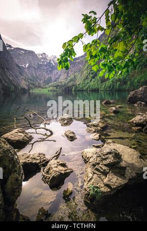 Nature panorama at lake Obersee, near Koenigssee in Berchtesgaden, Bavaria - Stock Image