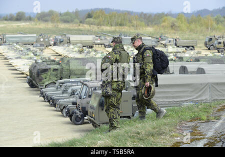 In 2019-2021, the 71st mechanised battalion is part of the Very High Readiness Joint Task Force (VJFT), which is capable of quick deployment to react to potential threats to allied countries. Czech, Spanish, Polish and British battalions are part of the VJFT brigade based on the Polish 21st brigade. The VJTF land brigade has approximately 5000 troops supported by air, naval and special forces. The Czech Lizzard 2019 military exercise, which focuses on fighting of mechanised units in a very intensive conflict and checks the readiness of their deployment in the NATO Response Force, is culminatin - Stock Image