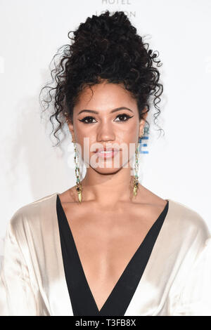 London, UK. 08th Apr, 2019. LONDON, UK. April 08, 2019: Vick Hope arriving for the Football for Peace initiative dinner by Global Gift Foundation at the Corinthia Hotel, London. Picture: Steve Vas/Featureflash Credit: Paul Smith/Alamy Live News - Stock Image