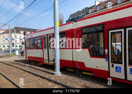 Tram in Gdansk Poland - Stock Image