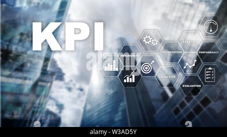 KPI - Key Performance Indicator. Business and technology concept. Multiple exposure, mixed media. Financial concept on blurred background - Stock Image