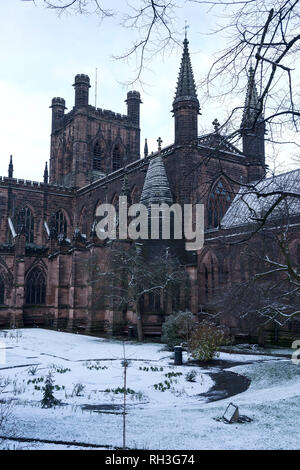 Chester Cathedral with a light dusting of snow - Stock Image