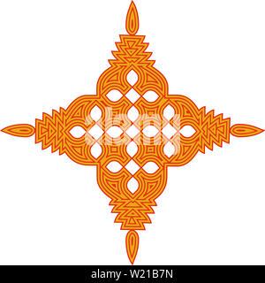 rangoli indian floral hindu culture navratri mandala illustration - Stock Image