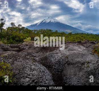 Path of desolation, Osorno Volcano, Chile, South America. - Stock Image