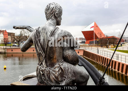 Ship Figurehead on Tourist boat in Gdansk, Poland - Stock Image