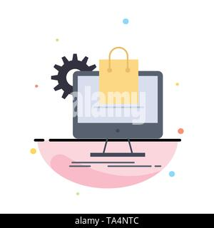 shopping, online, ecommerce, services, cart Flat Color Icon Vector - Stock Image