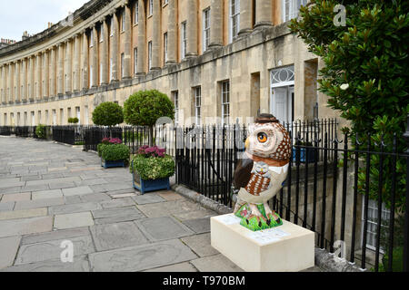 One of the Owls of Bath on the Royal Crescent  in Bath during the  2018 event.All of the Owls were sponsored and auctioned at the end of the event - Stock Image