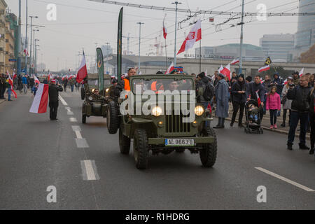 Warsaw, Poland, 11 November 2018: Jeep Willys from WW2 during celebrations of Polish Independence Day - Stock Image