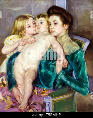 Mary Cassatt, The Caress, painting, 1902 - Stock Image