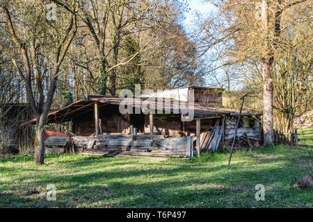 Old shed on Gutshaus Manor House estate, Friedenfelde,Gerswalde, Brandenburg,Germany - Stock Image