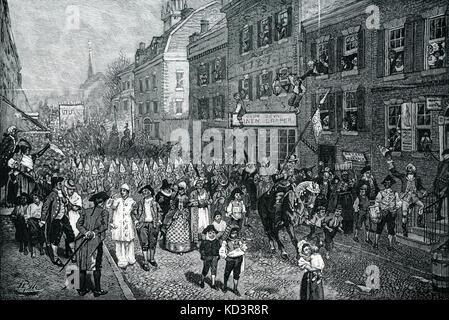 Lenten carnival, Philadelphia, colonial America, 1700s. Illustration by Howard Pyle, 1901 - Stock Image