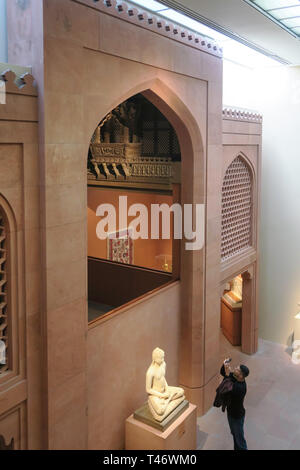 Architectural Ensemble from Jain Meeting Hall in India is an Exhibit in the Metropolitan Museum of Art, NYC, USA - Stock Image