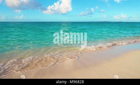 Beautiful white sand beach and Caribbean sea. - Stock Image